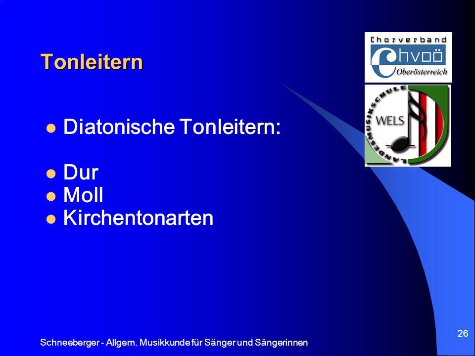 Schneeberger - Allgem. Musikkunde für Sänger und Sängerinnen 26 Tonleitern Diatonische Tonleitern: Dur Moll Kirchentonarten