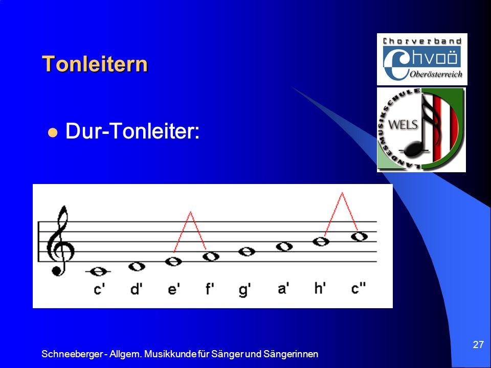 Schneeberger - Allgem. Musikkunde für Sänger und Sängerinnen 27 Tonleitern Dur-Tonleiter: