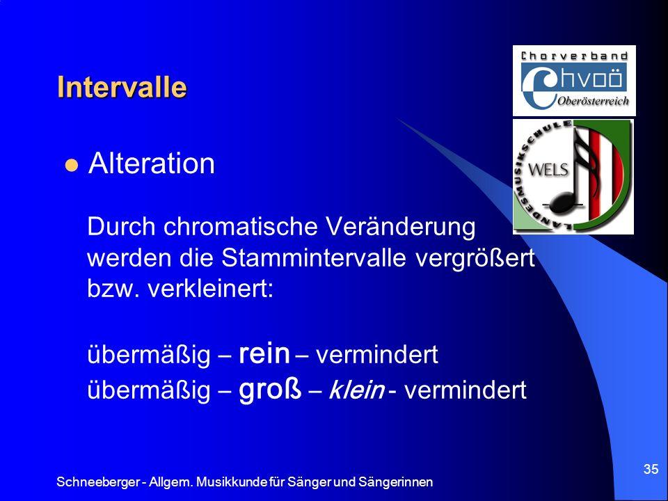 Schneeberger - Allgem. Musikkunde für Sänger und Sängerinnen 35 Intervalle Alteration Durch chromatische Veränderung werden die Stammintervalle vergrö