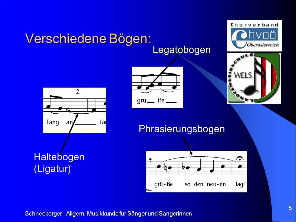 Schneeberger - Allgem. Musikkunde für Sänger und Sängerinnen 5 Verschiedene Bögen: Haltebogen (Ligatur) Legatobogen Phrasierungsbogen