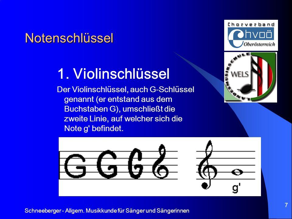 Schneeberger - Allgem. Musikkunde für Sänger und Sängerinnen 7 Notenschlüssel 1. Violinschlüssel Der Violinschlüssel, auch G-Schlüssel genannt (er ent