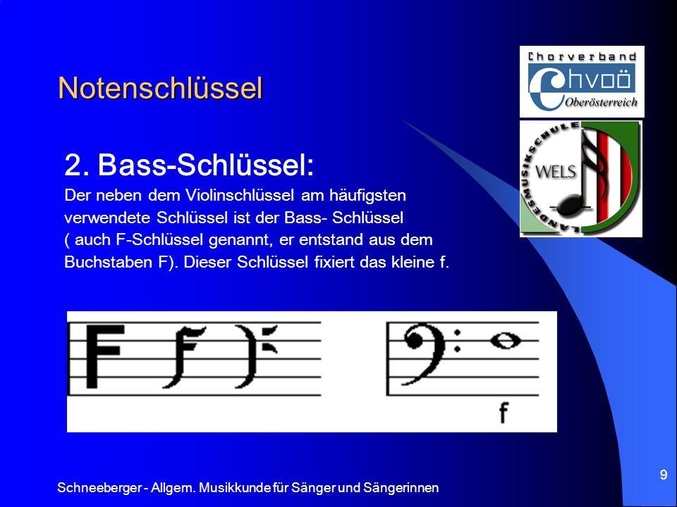 Schneeberger - Allgem. Musikkunde für Sänger und Sängerinnen 9 Notenschlüssel 2. Bass-Schlüssel: Der neben dem Violinschlüssel am häufigsten verwendet