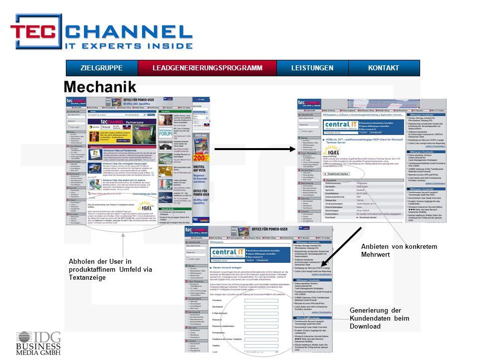 Mechanik Abholen der User in produktaffinem Umfeld via Textanzeige Generierung der Kundendaten beim Download Anbieten von konkretem Mehrwert ZIELGRUPPE LEADGENERIERUNGSPROGRAMMLEISTUNGENKONTAKT