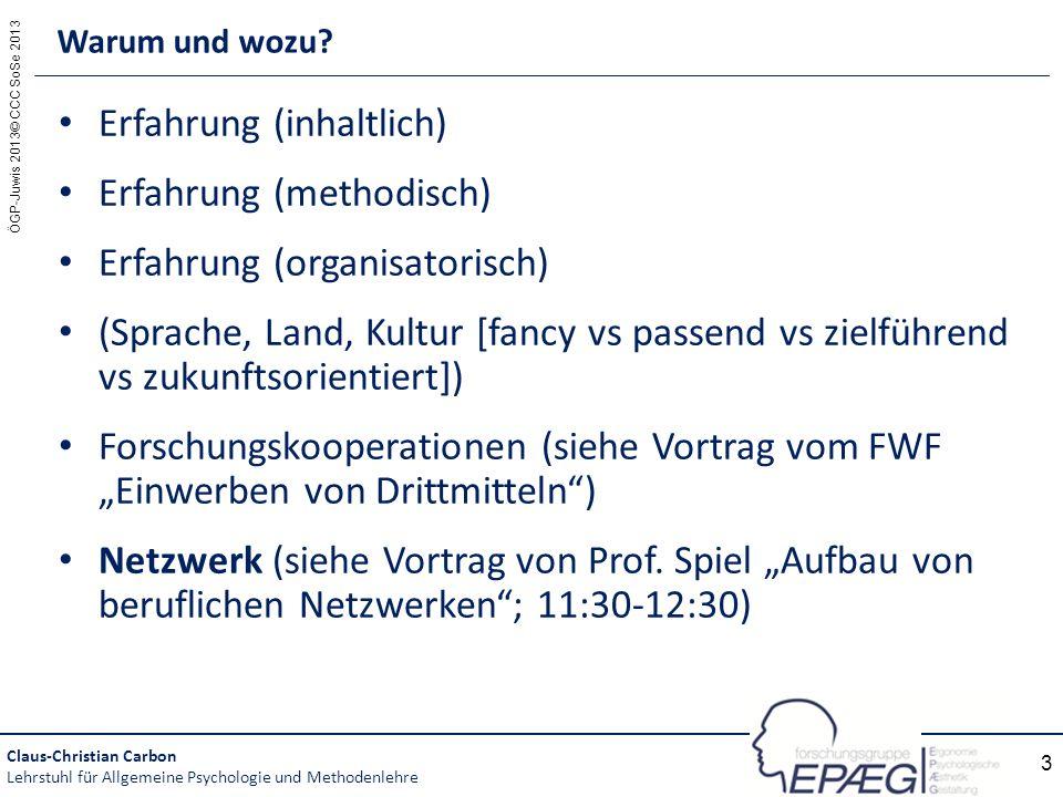 ÖGP-Juwis 2013© CCC SoSe 2013 3 Erfahrung (inhaltlich) Erfahrung (methodisch) Erfahrung (organisatorisch) (Sprache, Land, Kultur [fancy vs passend vs