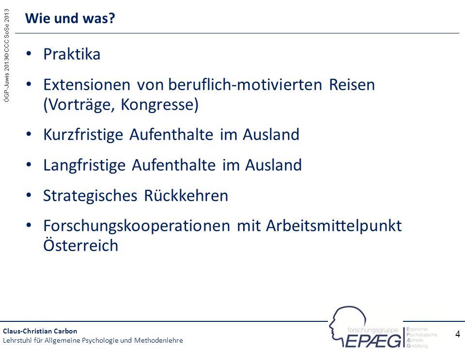 ÖGP-Juwis 2013© CCC SoSe 2013 4 Praktika Extensionen von beruflich-motivierten Reisen (Vorträge, Kongresse) Kurzfristige Aufenthalte im Ausland Langfr