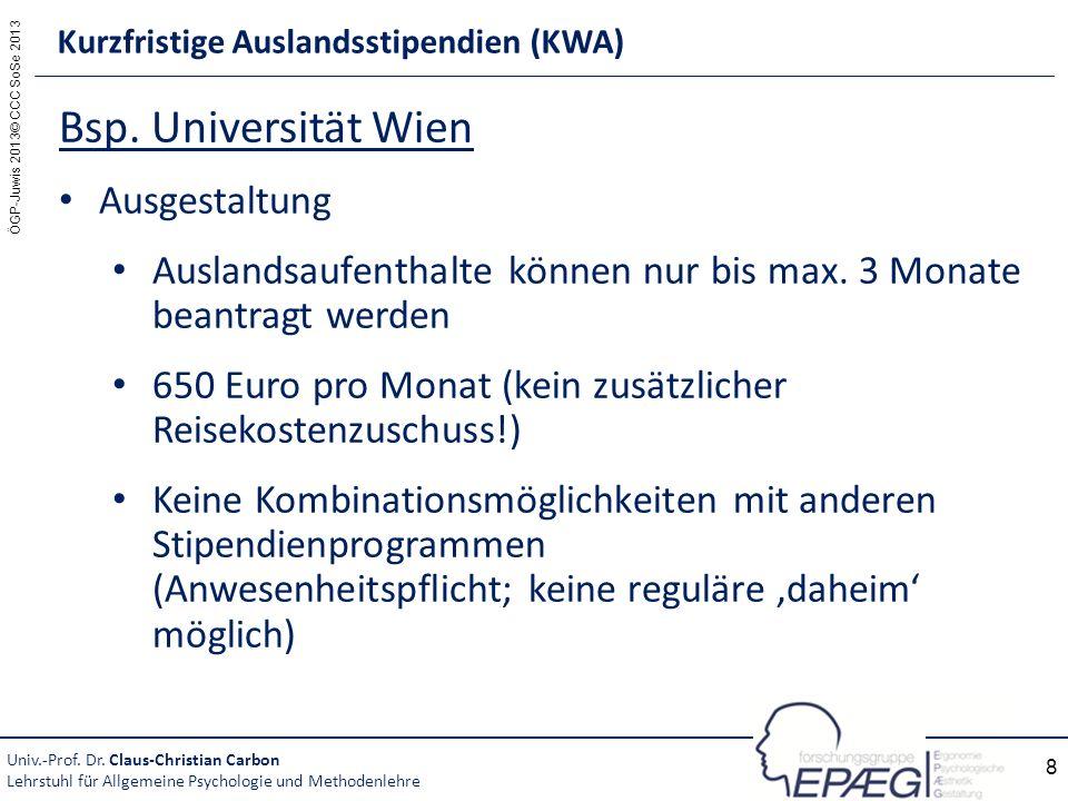 ÖGP-Juwis 2013© CCC SoSe 2013 8 Bsp. Universität Wien Ausgestaltung Auslandsaufenthalte können nur bis max. 3 Monate beantragt werden 650 Euro pro Mon