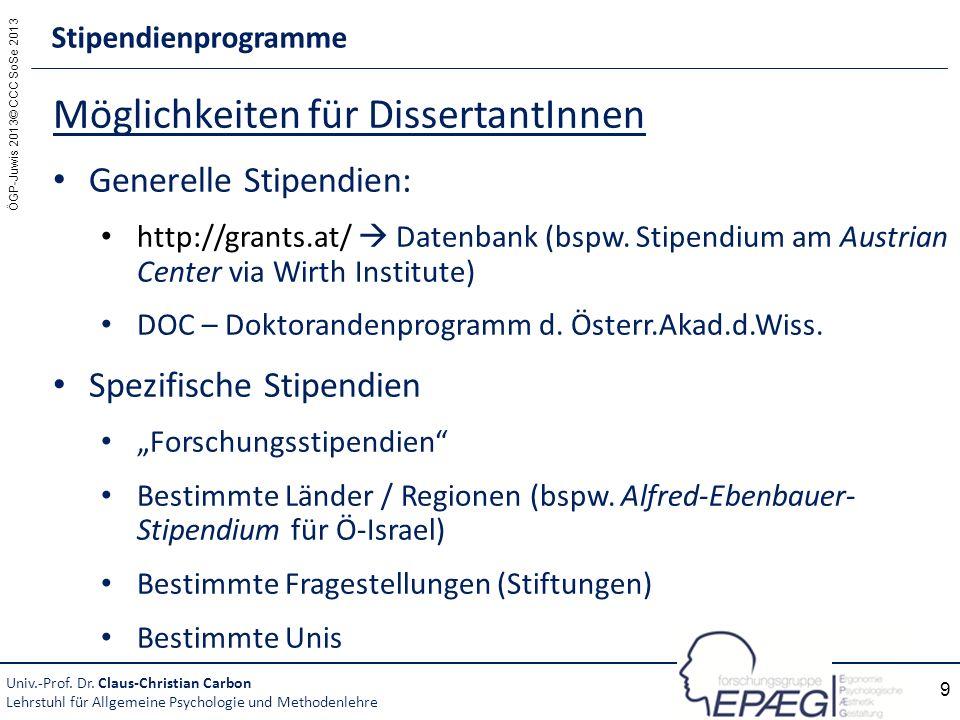 ÖGP-Juwis 2013© CCC SoSe 2013 9 Möglichkeiten für DissertantInnen Generelle Stipendien: http://grants.at/ Datenbank (bspw. Stipendium am Austrian Cent