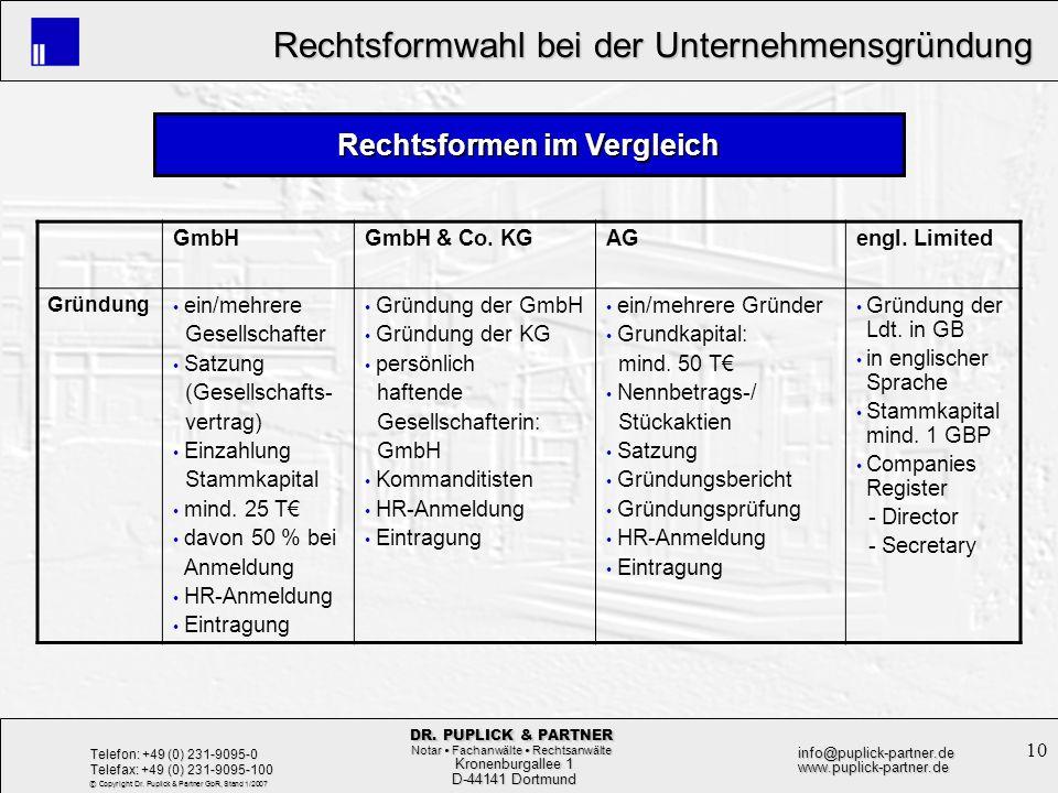 10 Rechtsformwahl bei der Unternehmensgründung Rechtsformwahl bei der Unternehmensgründung Kronenburgallee 1 Kronenburgallee 1 D-44141 Dortmund D-4414