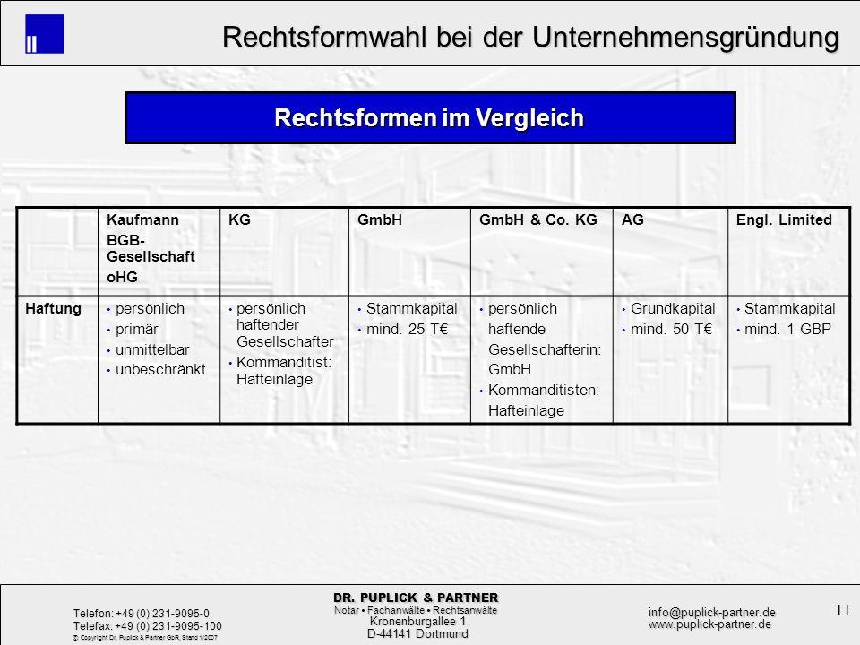 11 Rechtsformwahl bei der Unternehmensgründung Rechtsformwahl bei der Unternehmensgründung Kronenburgallee 1 Kronenburgallee 1 D-44141 Dortmund D-4414