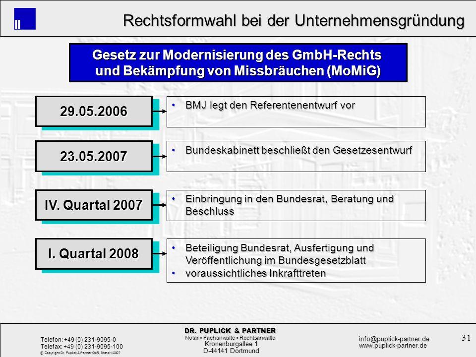 31 Rechtsformwahl bei der Unternehmensgründung Rechtsformwahl bei der Unternehmensgründung Kronenburgallee 1 Kronenburgallee 1 D-44141 Dortmund D-4414