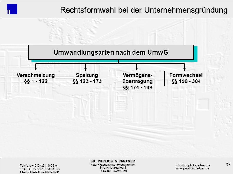 33 Rechtsformwahl bei der Unternehmensgründung Rechtsformwahl bei der Unternehmensgründung Kronenburgallee 1 Kronenburgallee 1 D-44141 Dortmund D-4414