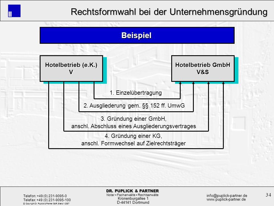 34 Rechtsformwahl bei der Unternehmensgründung Rechtsformwahl bei der Unternehmensgründung Kronenburgallee 1 Kronenburgallee 1 D-44141 Dortmund D-4414