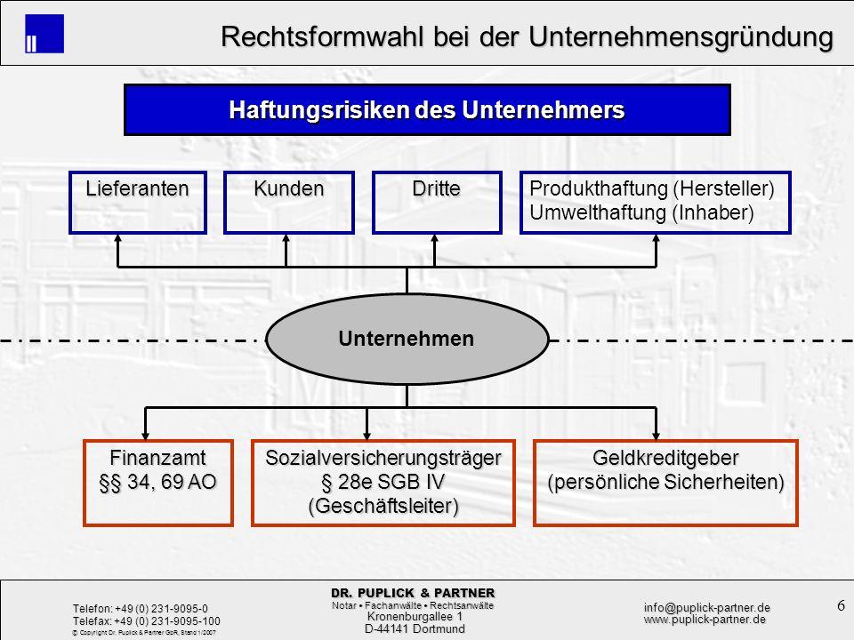 6 Rechtsformwahl bei der Unternehmensgründung Rechtsformwahl bei der Unternehmensgründung Kronenburgallee 1 Kronenburgallee 1 D-44141 Dortmund D-44141