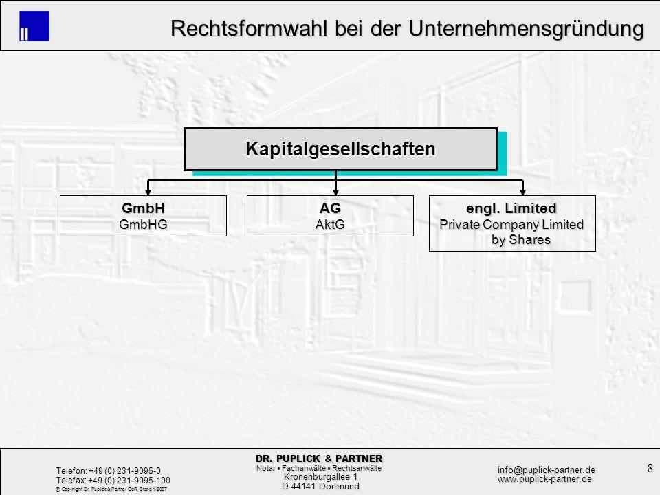 9 Rechtsformwahl bei der Unternehmensgründung Rechtsformwahl bei der Unternehmensgründung Kronenburgallee 1 Kronenburgallee 1 D-44141 Dortmund D-44141 Dortmund Telefon: +49 (0) 231-9095-0 Telefax: +49 (0) 231-9095-100 info@puplick-partner.dewww.puplick-partner.de DR.