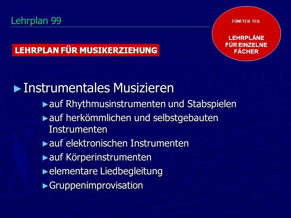 Instrumentales Musizieren Instrumentales Musizieren auf Rhythmusinstrumenten und Stabspielen auf Rhythmusinstrumenten und Stabspielen auf herkömmlichen und selbstgebauten Instrumenten auf herkömmlichen und selbstgebauten Instrumenten auf elektronischen Instrumenten auf elektronischen Instrumenten auf Körperinstrumenten auf Körperinstrumenten elementare Liedbegleitung elementare Liedbegleitung Gruppenimprovisation Gruppenimprovisation FÜNFTER TEIL LEHRPLÄNE FÜR EINZELNE FÄCHER LEHRPLAN FÜR MUSIKERZIEHUNG Lehrplan 99