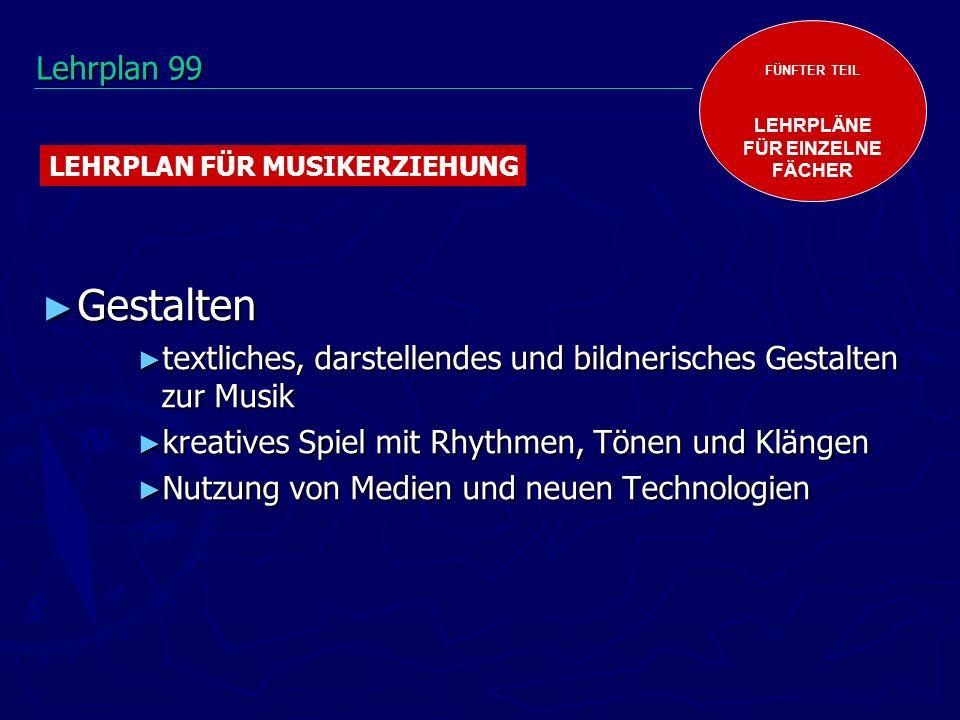 Gestalten Gestalten textliches, darstellendes und bildnerisches Gestalten zur Musik textliches, darstellendes und bildnerisches Gestalten zur Musik kreatives Spiel mit Rhythmen, Tönen und Klängen kreatives Spiel mit Rhythmen, Tönen und Klängen Nutzung von Medien und neuen Technologien Nutzung von Medien und neuen Technologien FÜNFTER TEIL LEHRPLÄNE FÜR EINZELNE FÄCHER LEHRPLAN FÜR MUSIKERZIEHUNG Lehrplan 99