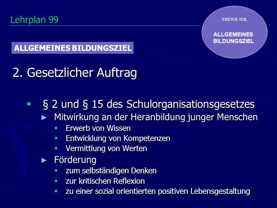 ERSTER TEIL ALLGEMEINES BILDUNGSZIEL 2. Gesetzlicher Auftrag § 2 und § 15 des Schulorganisationsgesetzes § 2 und § 15 des Schulorganisationsgesetzes M