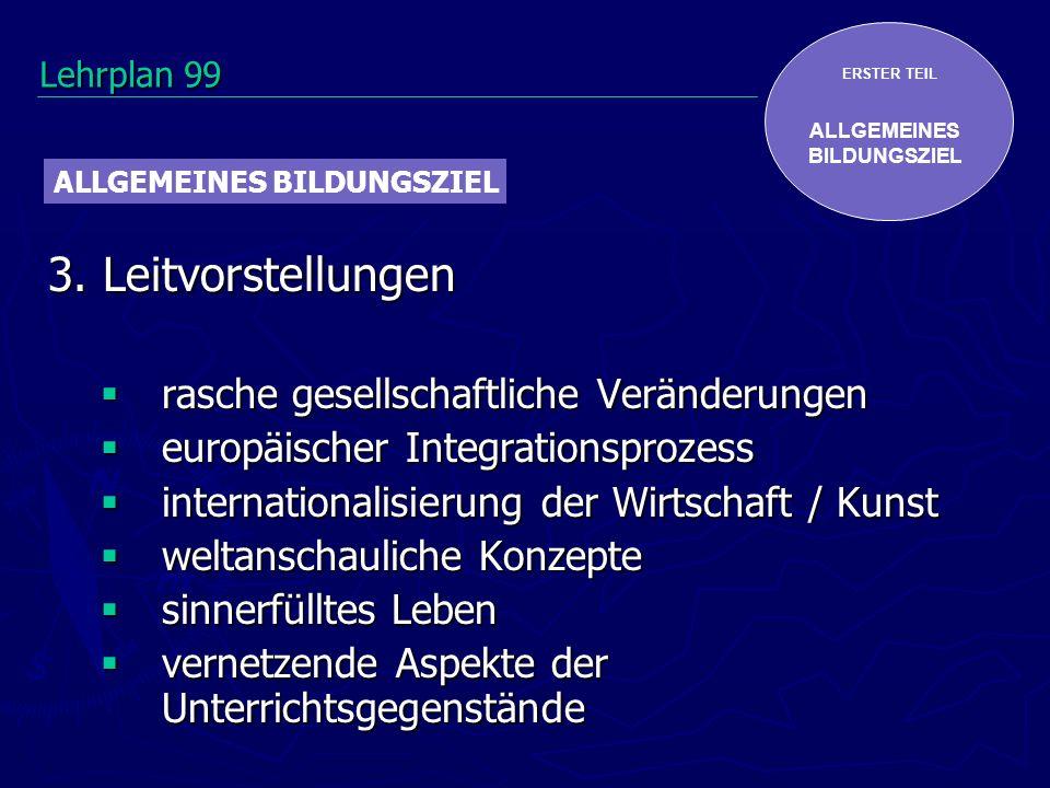ERSTER TEIL ALLGEMEINES BILDUNGSZIEL 3. Leitvorstellungen rasche gesellschaftliche Veränderungen rasche gesellschaftliche Veränderungen europäischer I