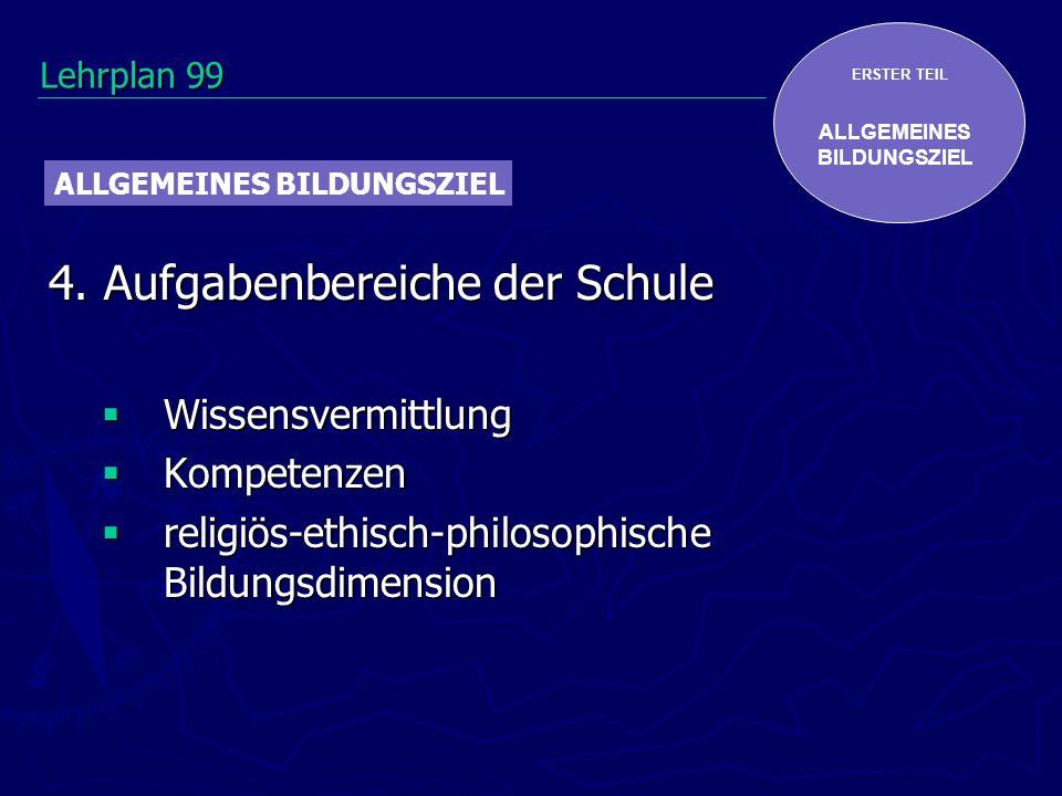 ERSTER TEIL ALLGEMEINES BILDUNGSZIEL 4. Aufgabenbereiche der Schule Wissensvermittlung Wissensvermittlung Kompetenzen Kompetenzen religiös-ethisch-phi
