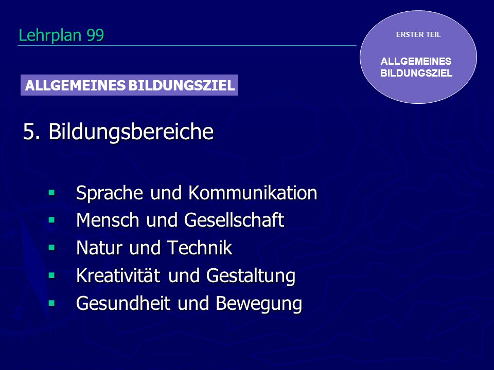 ERSTER TEIL ALLGEMEINES BILDUNGSZIEL 5. Bildungsbereiche Sprache und Kommunikation Sprache und Kommunikation Mensch und Gesellschaft Mensch und Gesell
