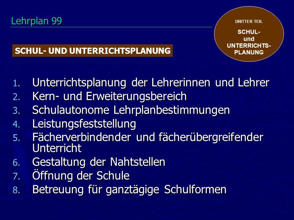 DRITTER TEIL SCHUL- und UNTERRICHTS- PLANUNG 1. Unterrichtsplanung der Lehrerinnen und Lehrer 2. Kern- und Erweiterungsbereich 3. Schulautonome Lehrpl