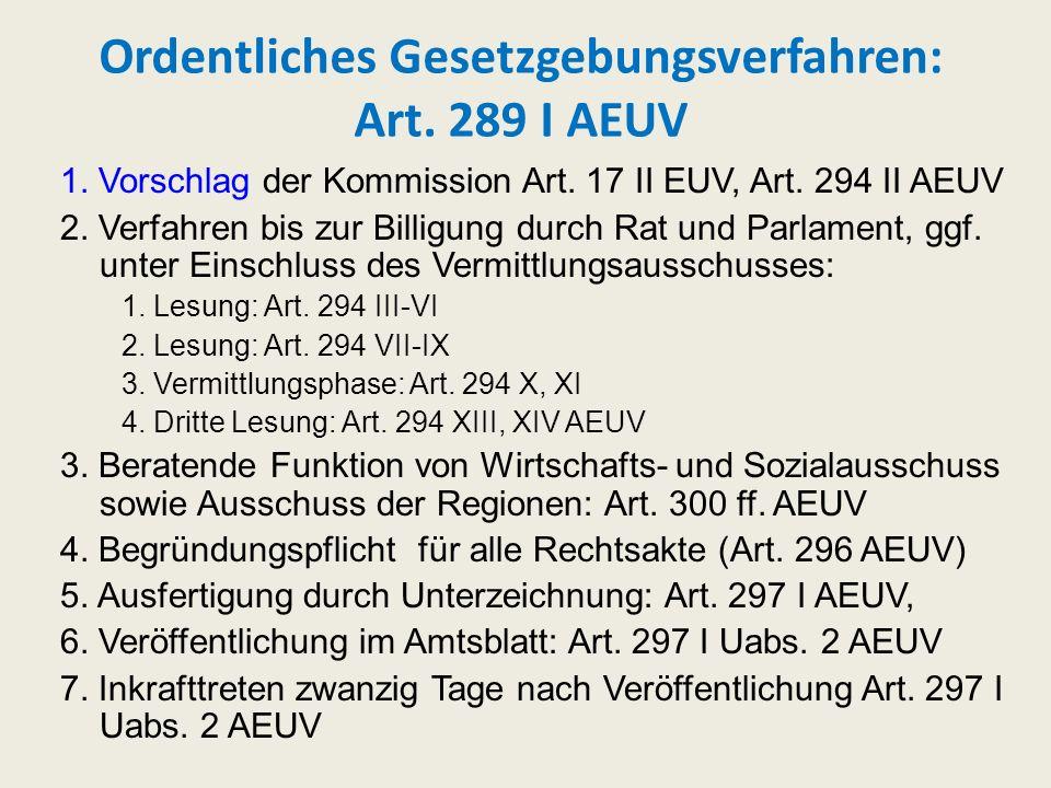 Ordentliches Gesetzgebungsverfahren: Art. 289 I AEUV 1. Vorschlag der Kommission Art. 17 II EUV, Art. 294 II AEUV 2. Verfahren bis zur Billigung durch