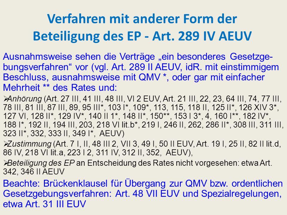 Verfahren mit anderer Form der Beteiligung des EP - Art. 289 IV AEUV Ausnahmsweise sehen die Verträge ein besonderes Gesetzge- bungsverfahren vor (vgl