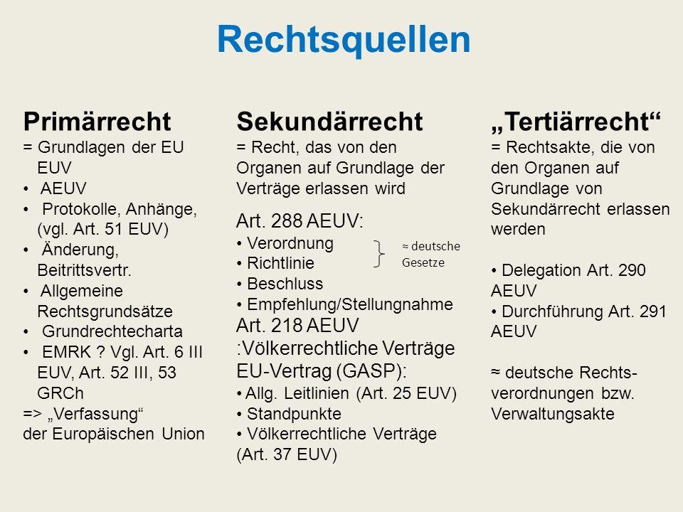 Rechtsquellen Primärrecht = Grundlagen der EU EUV AEUV Protokolle, Anhänge, (vgl. Art. 51 EUV) Änderung, Beitrittsvertr. Allgemeine Rechtsgrundsätze G