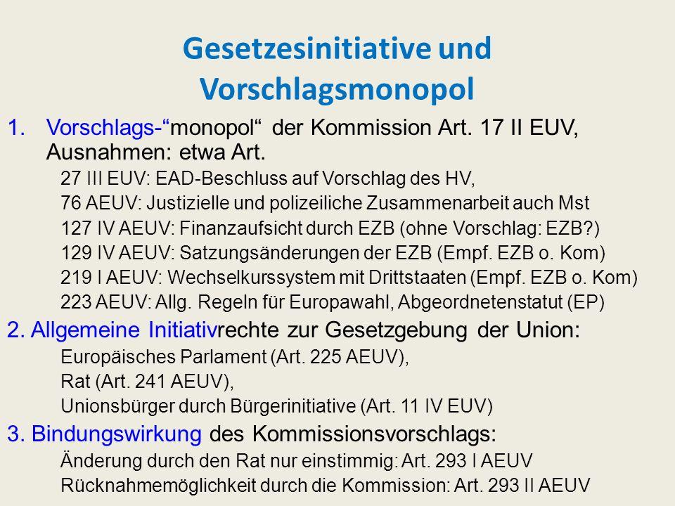 Gesetzesinitiative und Vorschlagsmonopol 1.Vorschlags-monopol der Kommission Art. 17 II EUV, Ausnahmen: etwa Art. 27 III EUV: EAD-Beschluss auf Vorsch