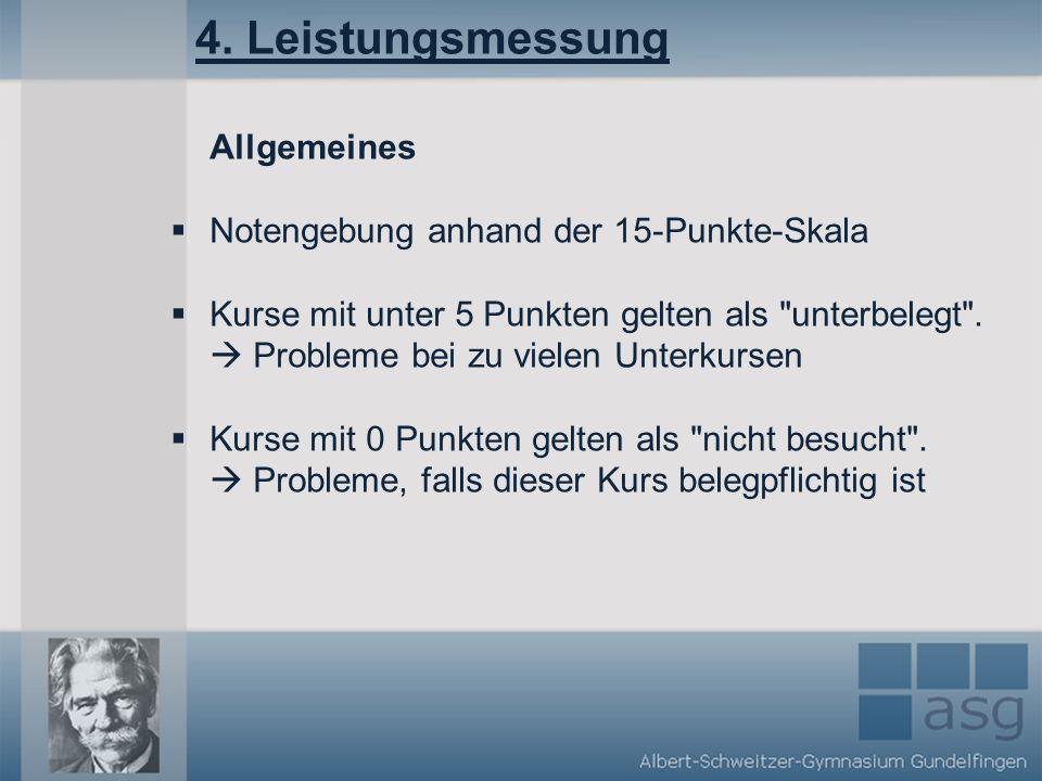 4. Leistungsmessung Allgemeines Notengebung anhand der 15-Punkte-Skala Kurse mit unter 5 Punkten gelten als
