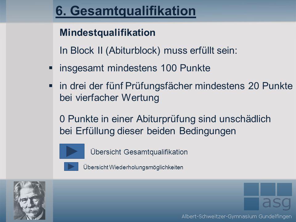 6. Gesamtqualifikation Mindestqualifikation In Block II (Abiturblock) muss erfüllt sein: insgesamt mindestens 100 Punkte in drei der fünf Prüfungsfäch