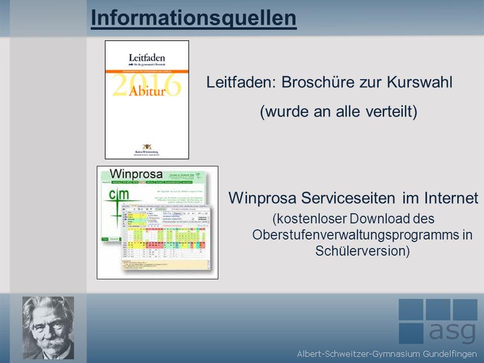 Informationsquellen Leitfaden: Broschüre zur Kurswahl (wurde an alle verteilt) Winprosa Serviceseiten im Internet (kostenloser Download des Oberstufenverwaltungsprogramms in Schülerversion)