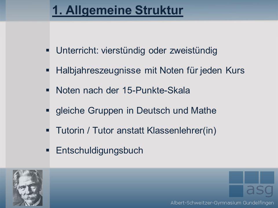1. Allgemeine Struktur Unterricht: vierstündig oder zweistündig Halbjahreszeugnisse mit Noten für jeden Kurs Noten nach der 15-Punkte-Skala gleiche Gr