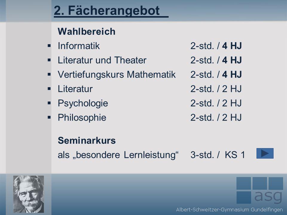 2.Fächerangebot Wahlbereich Informatik2-std. / 4 HJ Literatur und Theater2-std.