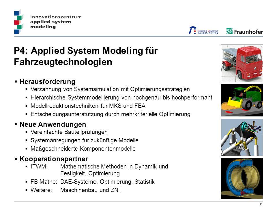 11 P4: Applied System Modeling für Fahrzeugtechnologien Herausforderung Verzahnung von Systemsimulation mit Optimierungsstrategien Hierarchische Systemmodellierung von hochgenau bis hochperformant Modellreduktionstechniken für MKS und FEA Entscheidungsunterstützung durch mehrkriterielle Optimierung Neue Anwendungen Vereinfachte Bauteilprüfungen Systemanregungen für zukünftige Modelle Maßgeschneiderte Komponentenmodelle Kooperationspartner ITWM: Mathematische Methoden in Dynamik und Festigkeit, Optimierung FB Mathe:DAE-Systeme, Optimierung, Statistik Weitere: Maschinenbau und ZNT