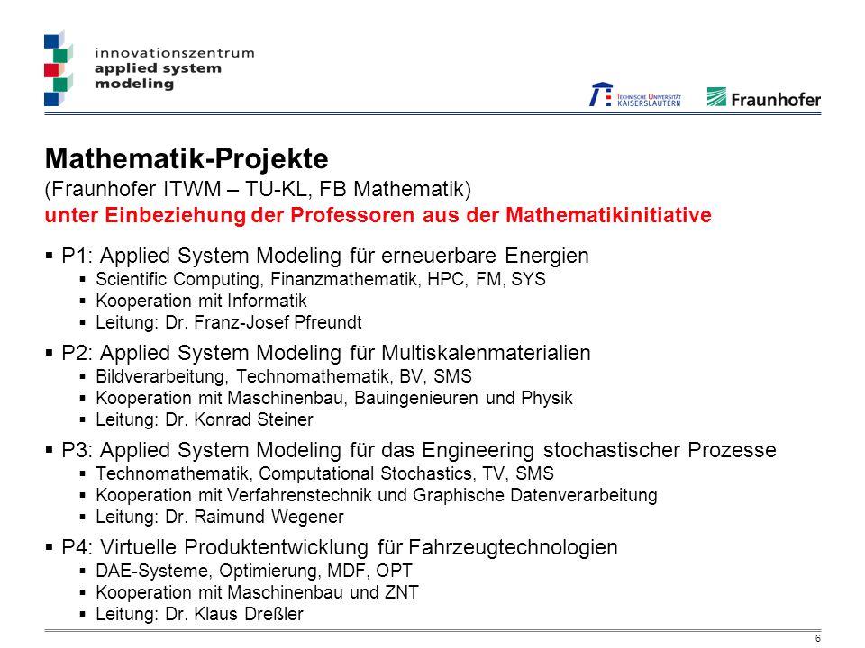 6 Mathematik-Projekte (Fraunhofer ITWM – TU-KL, FB Mathematik) unter Einbeziehung der Professoren aus der Mathematikinitiative P1: Applied System Modeling für erneuerbare Energien Scientific Computing, Finanzmathematik, HPC, FM, SYS Kooperation mit Informatik Leitung: Dr.