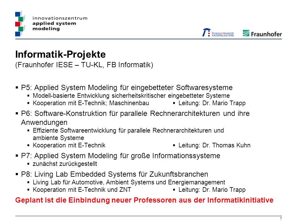 7 Informatik-Projekte (Fraunhofer IESE – TU-KL, FB Informatik) P5: Applied System Modeling für eingebetteter Softwaresysteme Modell-basierte Entwicklung sicherheitskritischer eingebetteter Systeme Kooperation mit E-Technik; Maschinenbau Leitung: Dr.