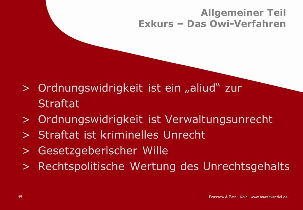 Brüssow & Petri · Köln · www.anwaltkanzlei.de15 Allgemeiner Teil Exkurs – Das Owi-Verfahren >Ordnungswidrigkeit ist ein aliud zur Straftat >Ordnungswi