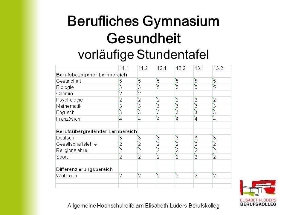 Berufliches Gymnasium Gesundheit vorläufige Stundentafel Allgemeine Hochschulreife am Elisabeth-Lüders-Berufskolleg