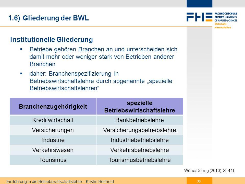 Einführung in die Betriebswirtschaftslehre – Kristin Berthold Genetische Gliederung Werdegang des Betriebes von der Gründung bis zur Liquidation Lebenslauf 1.