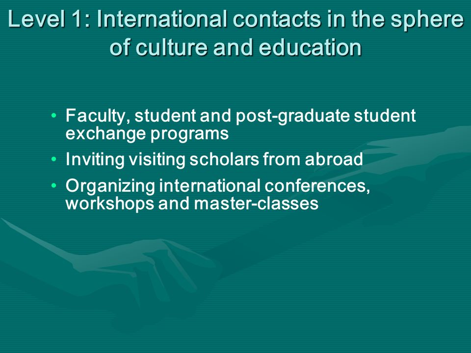 Level 1: International contacts in the sphere of culture and education Faculty, student and post-graduate student exchange programs Inviting visiting scholars from abroad Organizing international conferences, workshops and master-classes