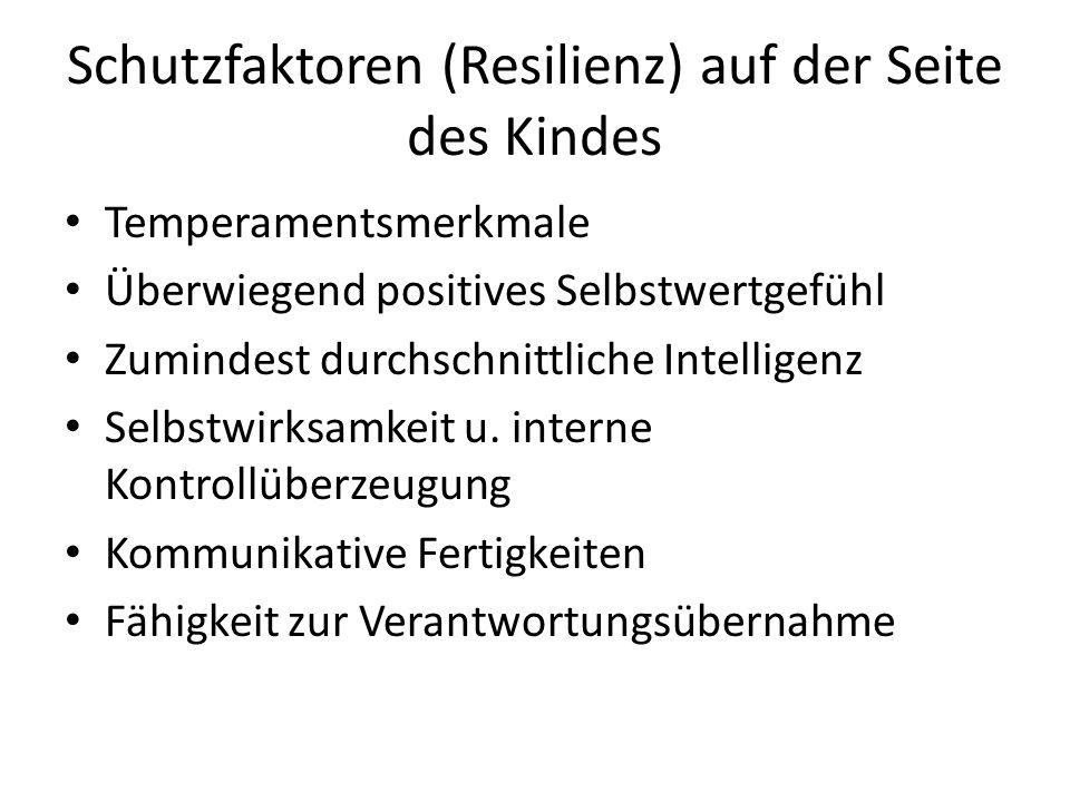 Schutzfaktoren (Resilienz) auf der Seite des Kindes Temperamentsmerkmale Überwiegend positives Selbstwertgefühl Zumindest durchschnittliche Intelligen