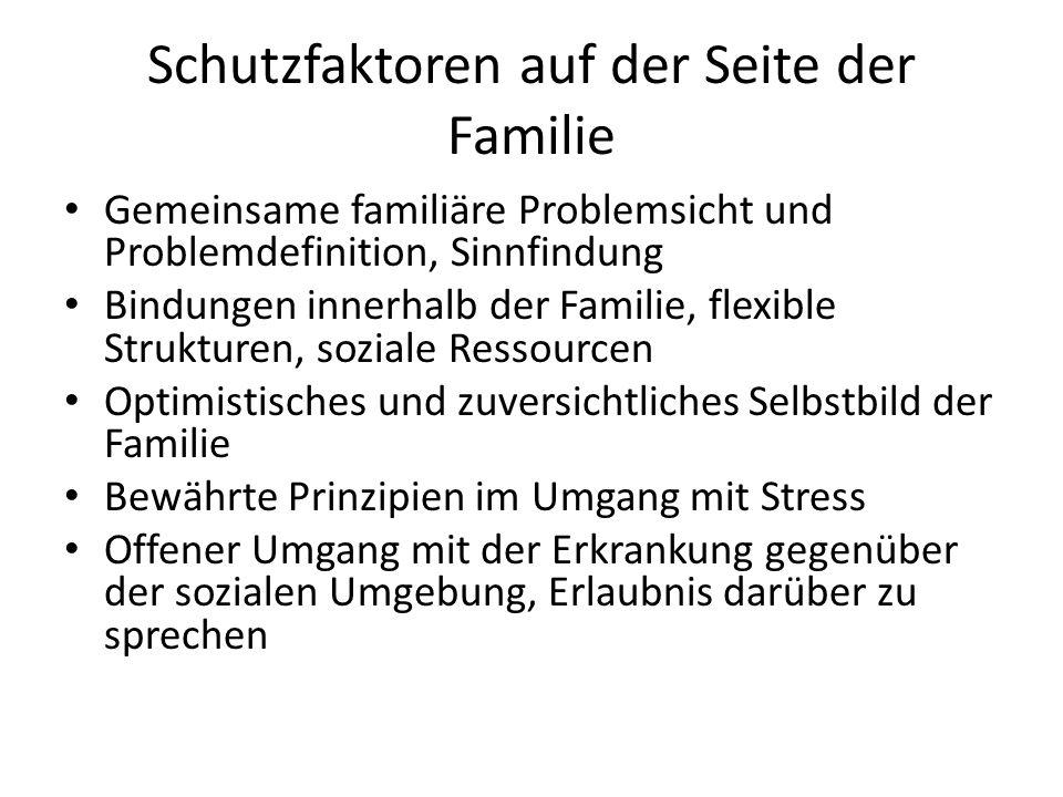 Schutzfaktoren auf der Seite der Familie Gemeinsame familiäre Problemsicht und Problemdefinition, Sinnfindung Bindungen innerhalb der Familie, flexibl