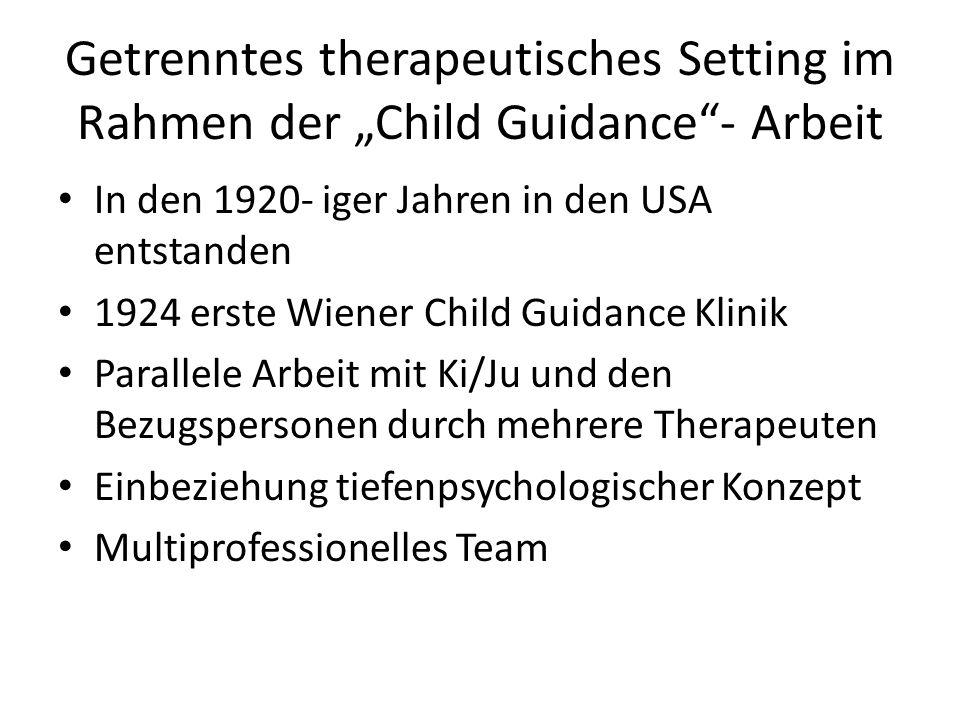 Getrenntes therapeutisches Setting im Rahmen der Child Guidance- Arbeit In den 1920- iger Jahren in den USA entstanden 1924 erste Wiener Child Guidanc