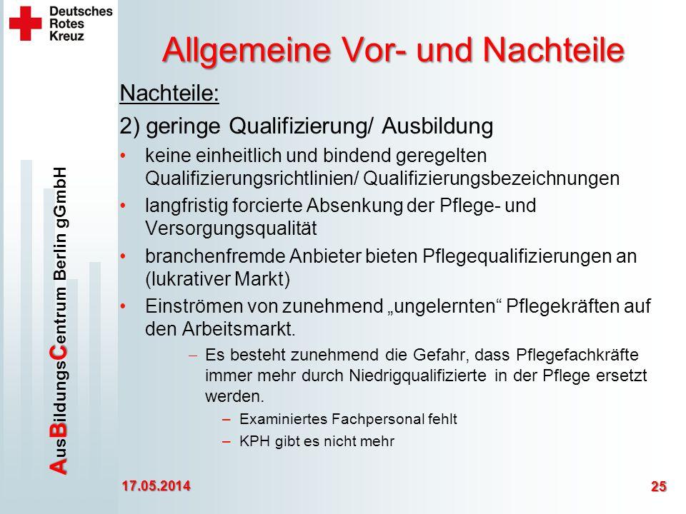 ABC A us B ildungs C entrum Berlin gGmbH Allgemeine Vor- und Nachteile Nachteile: 2) geringe Qualifizierung/ Ausbildung keine einheitlich und bindend geregelten Qualifizierungsrichtlinien/ Qualifizierungsbezeichnungen langfristig forcierte Absenkung der Pflege- und Versorgungsqualität branchenfremde Anbieter bieten Pflegequalifizierungen an (lukrativer Markt) Einströmen von zunehmend ungelernten Pflegekräften auf den Arbeitsmarkt.