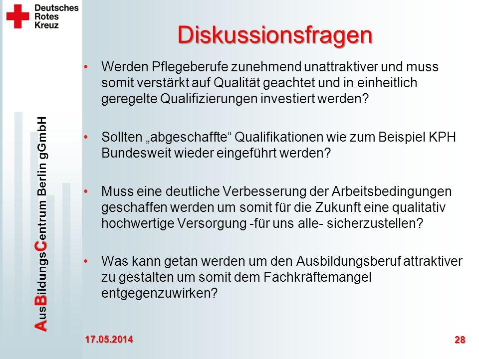ABC A us B ildungs C entrum Berlin gGmbH Diskussionsfragen Werden Pflegeberufe zunehmend unattraktiver und muss somit verstärkt auf Qualität geachtet und in einheitlich geregelte Qualifizierungen investiert werden.