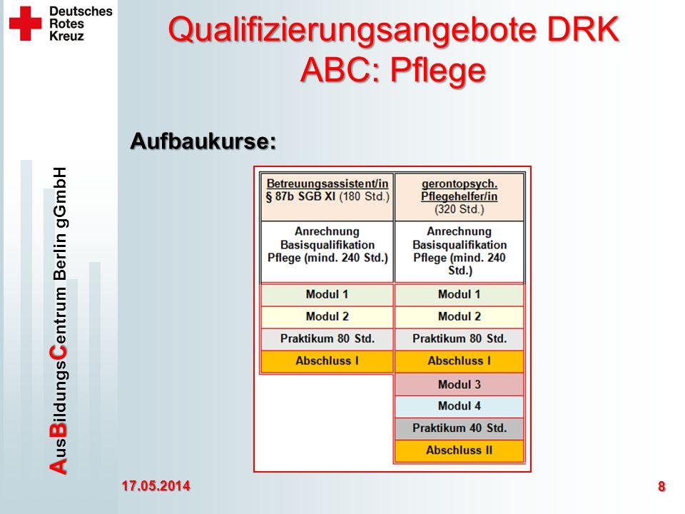 ABC A us B ildungs C entrum Berlin gGmbH Qualifizierungsangebote DRK ABC: Pflege 17.05.2014 8 Aufbaukurse: