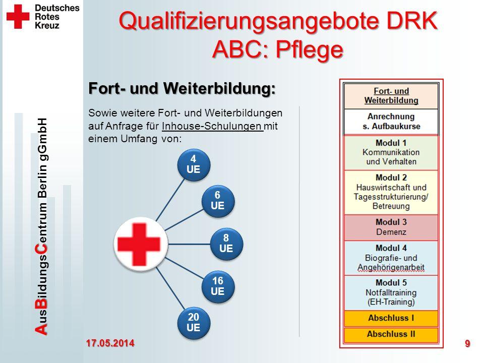 ABC A us B ildungs C entrum Berlin gGmbH Qualifizierungsangebote DRK ABC: Pflege 17.05.2014 9 Fort- und Weiterbildung: Sowie weitere Fort- und Weiterbildungen auf Anfrage für Inhouse-Schulungen mit einem Umfang von: 4 UE 6 UE 8 UE 16 UE 20 UE