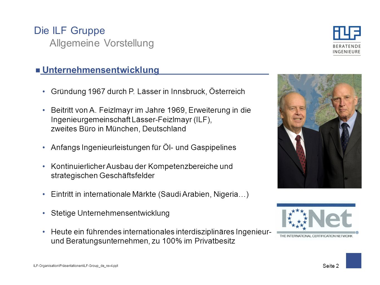 ILF-Organisation\Präsentationen\ILF-Group_de_rev4.ppt Seite 3 Kunden und Partner Private Organisationen wie Unternehmen aus der Öl- und Gasindustrie, Baufirmen, Generalunternehmer (EPC), Projektentwickler Öffentliche Verwaltungen und Körperschaften auf Ebene von Gemeinden, Ländern, Staaten u.