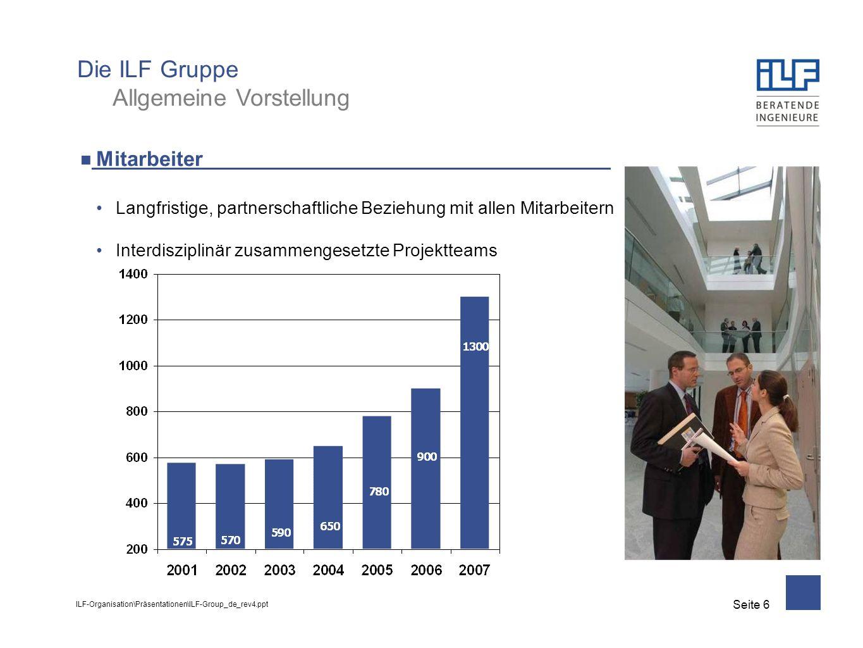 ILF-Organisation\Präsentationen\ILF-Group_de_rev4.ppt Seite 7 Umsatz Umsatz 2007: EUR 129 Mio.